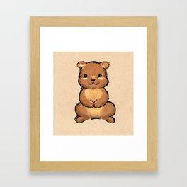 Happy bear - cute teddy bear, babys room art, chalk pastel, baby animals Framed Art Print