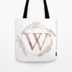 Letter W Rose Gold Pink Initial Monogram Tote Bag