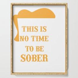 Beer Mug No Time to Be Sober Beer Pun Bartender Gift Beer Drinker Serving Tray
