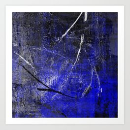 In The Dead Of Night - Textured Abstract In Blue, Black and White Art Print