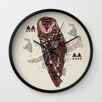 kris tate Wall Clocks featuring HATKEE Collaboration by Kyle Naylor and Kris Tate by Kyle Naylor