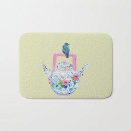 Bluebird and Teapot Bath Mat