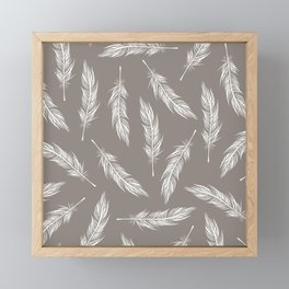 White Feather Pattern Framed Mini Art Print
