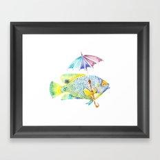 Fishy Fish - Original Watercolor of Yellow Mask Angel Fish with Umbrella Framed Art Print
