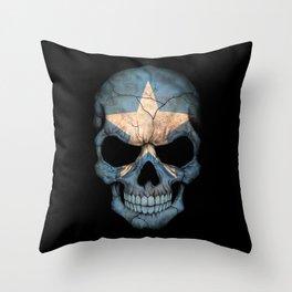 Dark Skull with Flag of Somalia Throw Pillow