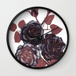 Black roses - Vintage rose print Wall Clock