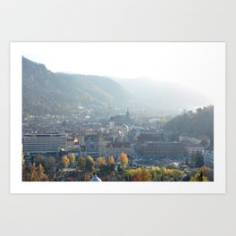 Brasov city romania old center covered in mist Art Print