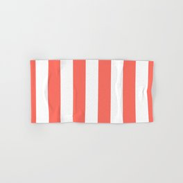 Large Living Coral and White Vertical Cabana Tent Stripes Hand & Bath Towel