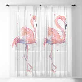 Pink Flamingo Watercolor Tropical Animals Bird Sheer Curtain