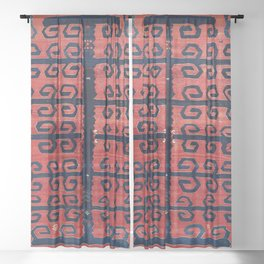 Yüncü  Antique Balikesir Turkish Kilim Print Sheer Curtain