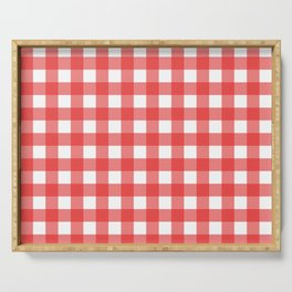 Red white gingham Serving Tray