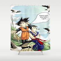 dragonball Shower Curtains featuring The fucks I give by bernardtime