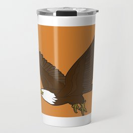 Bird Art Artwork Bald Eagle Flying In Orange Sky Beautiful Womens Decor Gift Travel Mug