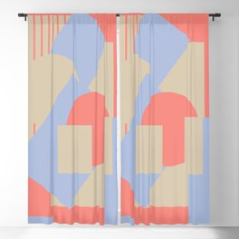 Geometrical abstract art deco mash-up coral sapphire Blackout Curtain