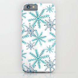 Blue Snowflakes iPhone Case