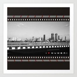 I Love Mumbai- BW Mumbai Skyline Art Print