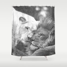 Lion in Love Shower Curtain