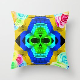 funny skull portrait with colorful roses in pink blue yellow green Throw Pillow