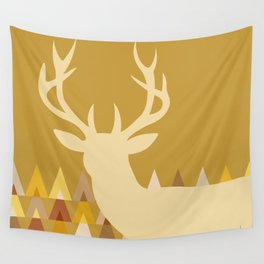 Deer Head Geometric Triangles | mustard yellow taupe Wall Tapestry