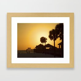 Sunset at Clearwater with silhouette of the pier Framed Art Print