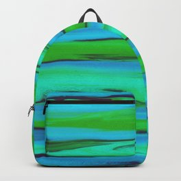 Apple Green, Seafoam, and Azure Blue Stripes Abstract Backpack