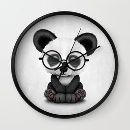 Cute Panda Bear Cub with Eye Glasses Wall Clock