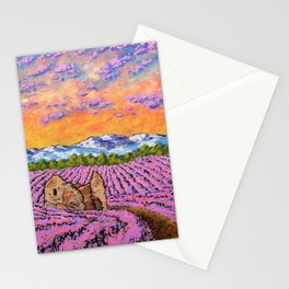 Lavender Farm by Mike Kraus - provence france french flowers landscape clouds mountains field house Stationery Cards