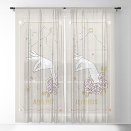 Aquarius Zodiac Sign Sheer Curtain