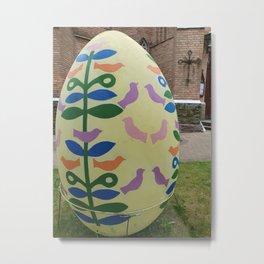 huge Easter egg. Easter theme decoration. Creativity Metal Print