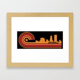 Retro Jacksonville Florida Skyline Framed Art Print