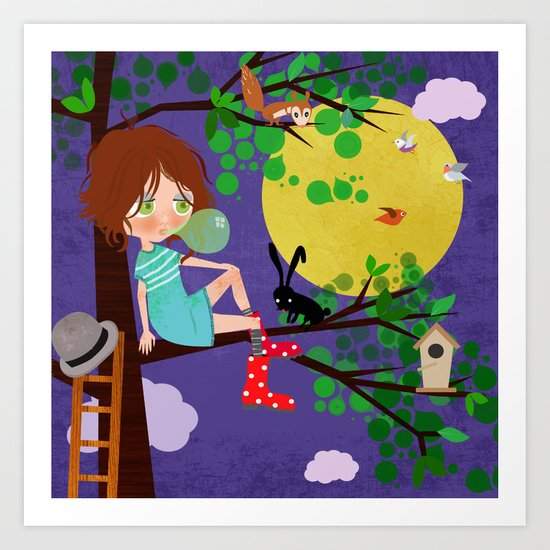 Emma and the Moon Art Print