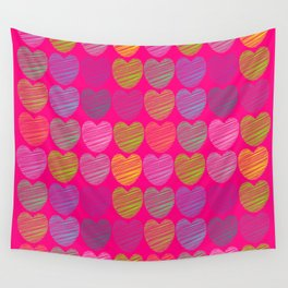 neon hearts  Wall Tapestry