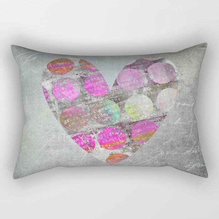 Passion  mixed media heart art Rectangular Pillow