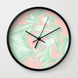 Island Love Seashell Pink + Light Green Wall Clock