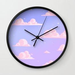 Pink Clouds Purple Sky Lo Fi Wall Clock