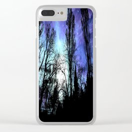 Black Trees Periwinkle Blue Lavender SPACE Clear iPhone Case