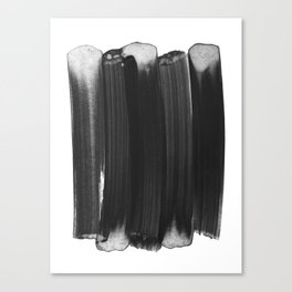 Charcoal Grey Minimalist Abstract Brushstrokes Canvas Print