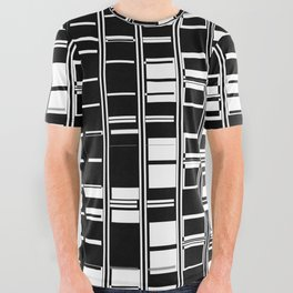 Bar Code Black and White Abstract Design All Over Graphic Tee