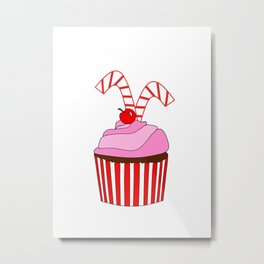 Cupcakes And Candy Canes Metal Print