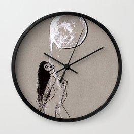Moon Milk - Moonbathing Goddess Illustration Wall Clock