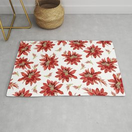 Red Christmas Cactus Flowers Floral Pattern Rug