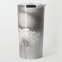 "Black and White Nature Photography, Queen Anne's Lace Grey Photo, Floral Print, ""Dreamy"" Travel Mug"