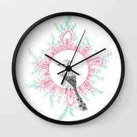 new year Wall Clocks featuring NEW YEAR by yoonmi