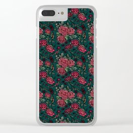 Project 413 | Cottage Rose on Dark Teal Green Clear iPhone Case