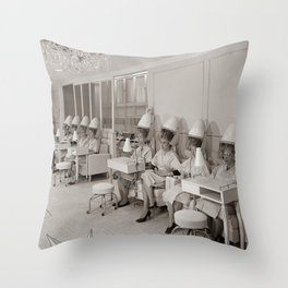 Retro Beauty Salon, Hair Dryers, Vintage Photograph Throw Pillow