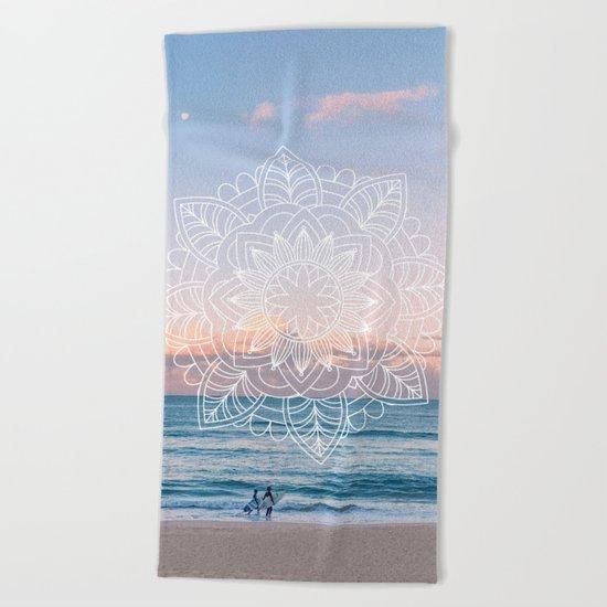Twilight surf mandala Beach Towel