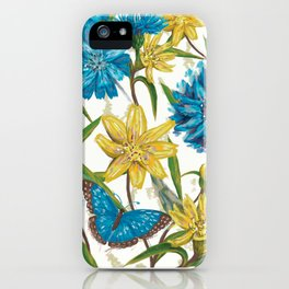 Seamless floral pattern with flowers and butterfly iPhone Case