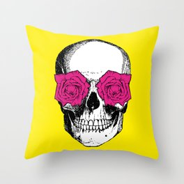 Skull and Roses | Skull and Flowers | Vintage Skull | Yellow and Pink | Throw Pillow