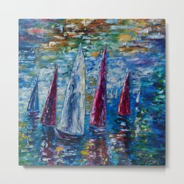 Sails To-night oil painting with Palette Knife Metal Print