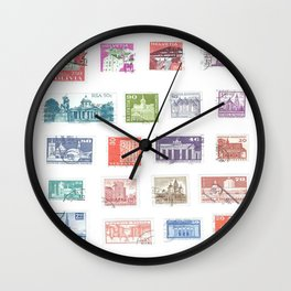 Vintage Architecture Postage Stamps Wall Clock